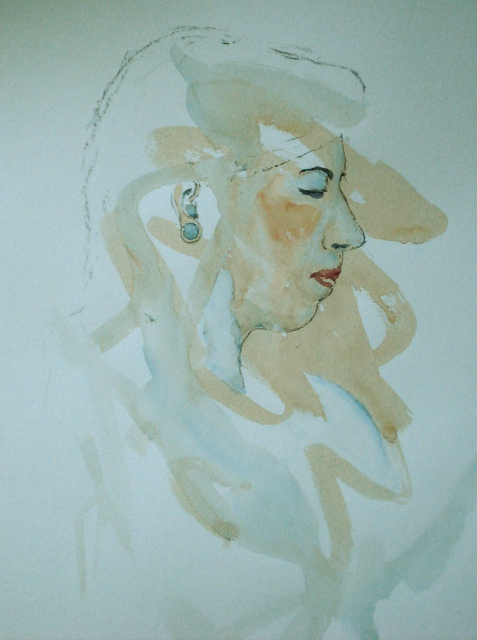 With this life study I started with a loose wash, drawing and painting into the still damp paper