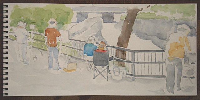 Plein-air painting at Hogs Back Falls, 14 June 2013