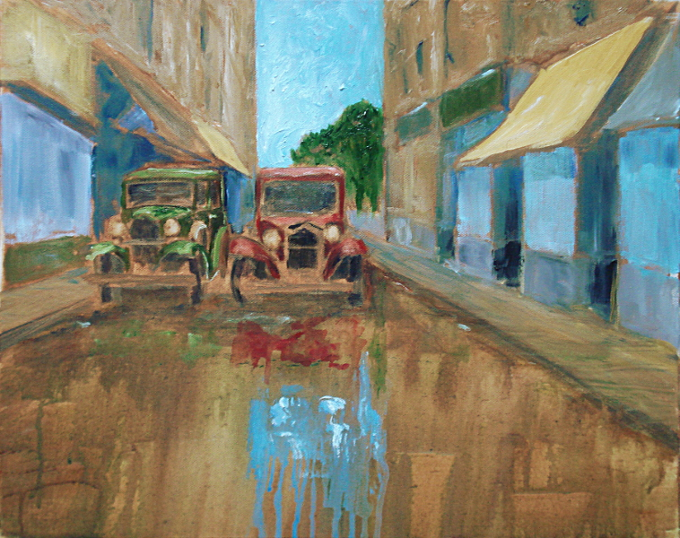 One of my demonstration paintings, loosely based on Westgate St., 16x20 in, Oil on canvas