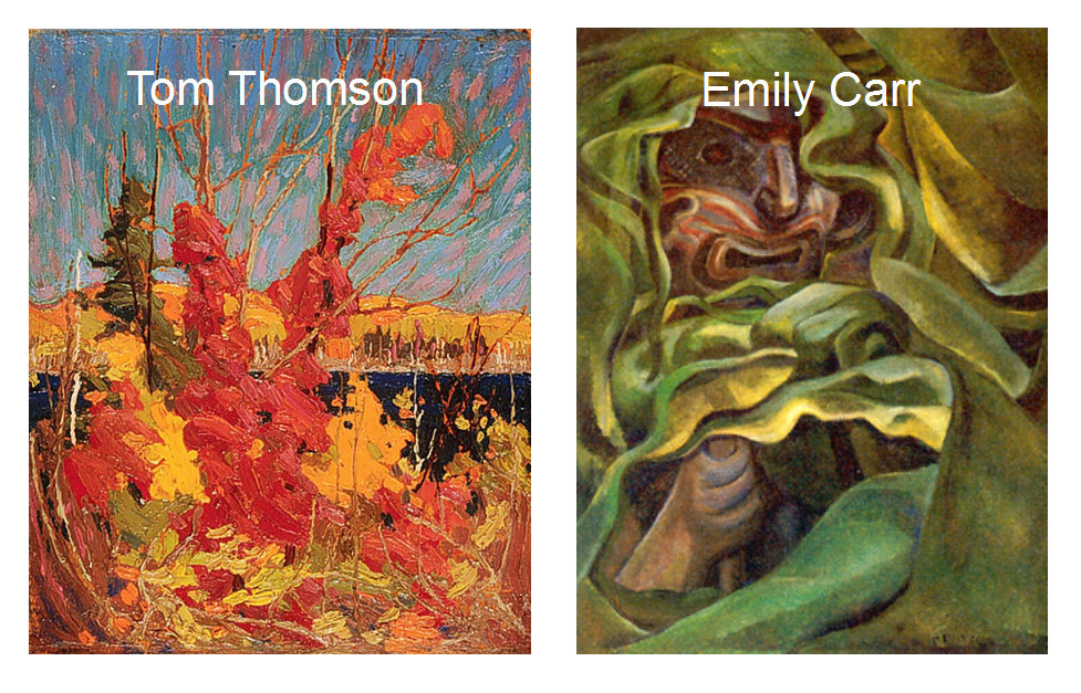 a difficult choice: which of Tom and Emily's paintings to include?