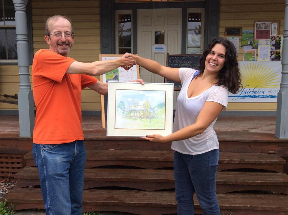 Presenting my watercolour to Mara at Fairbairn House